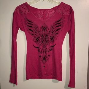 Pink Affliction Long Sleeve Shirt - Size Small